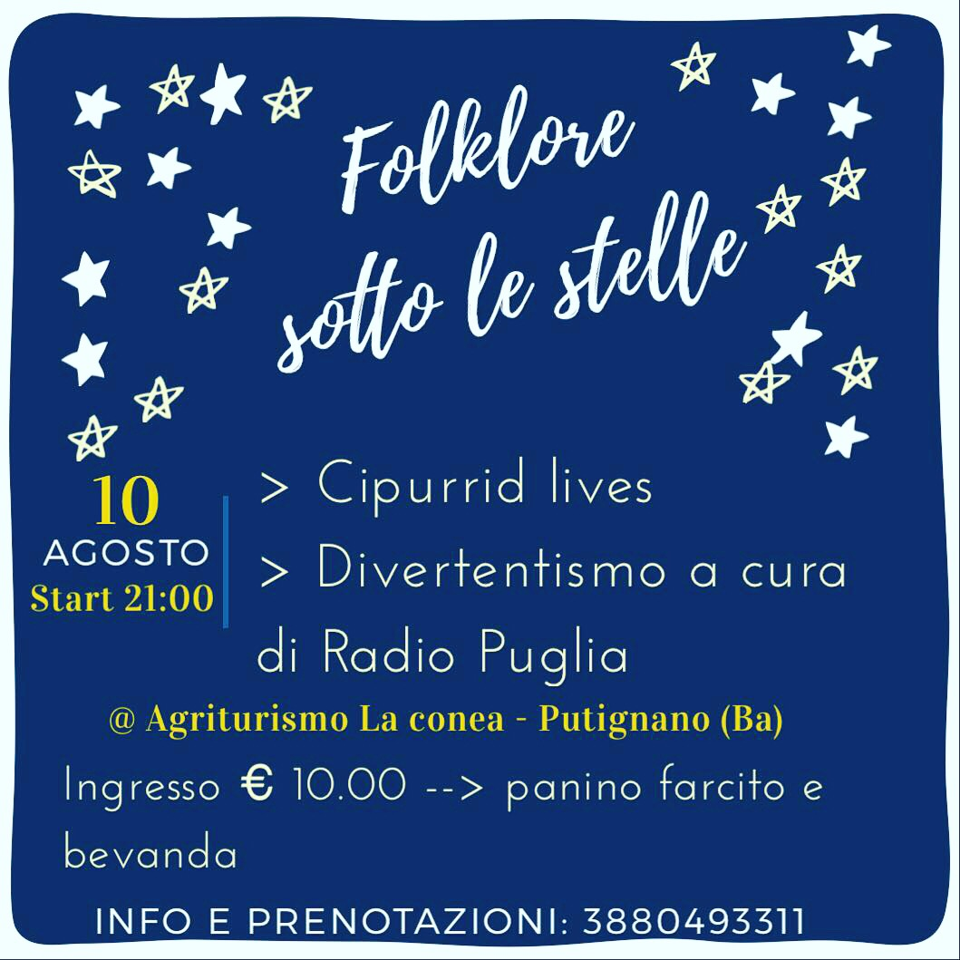 Locandina 10 agosto Radio Puglia e Cipurrid a Putignano